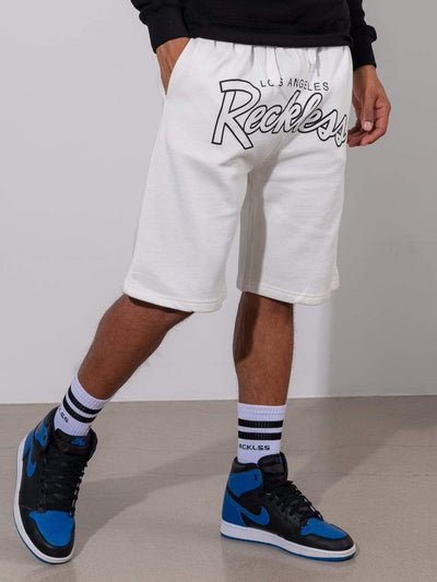Young and Reckless Mens - Fleece - Sweatshorts OG Reckless Outline Sweatshorts - White