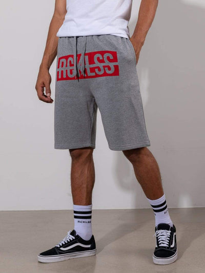Young and Reckless Mens - Fleece - Sweatshorts Strike Box Sweatshorts - Grey/Red