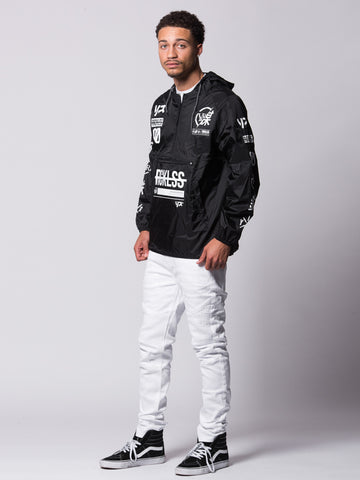 Strike Thru Windbreaker- Black/White