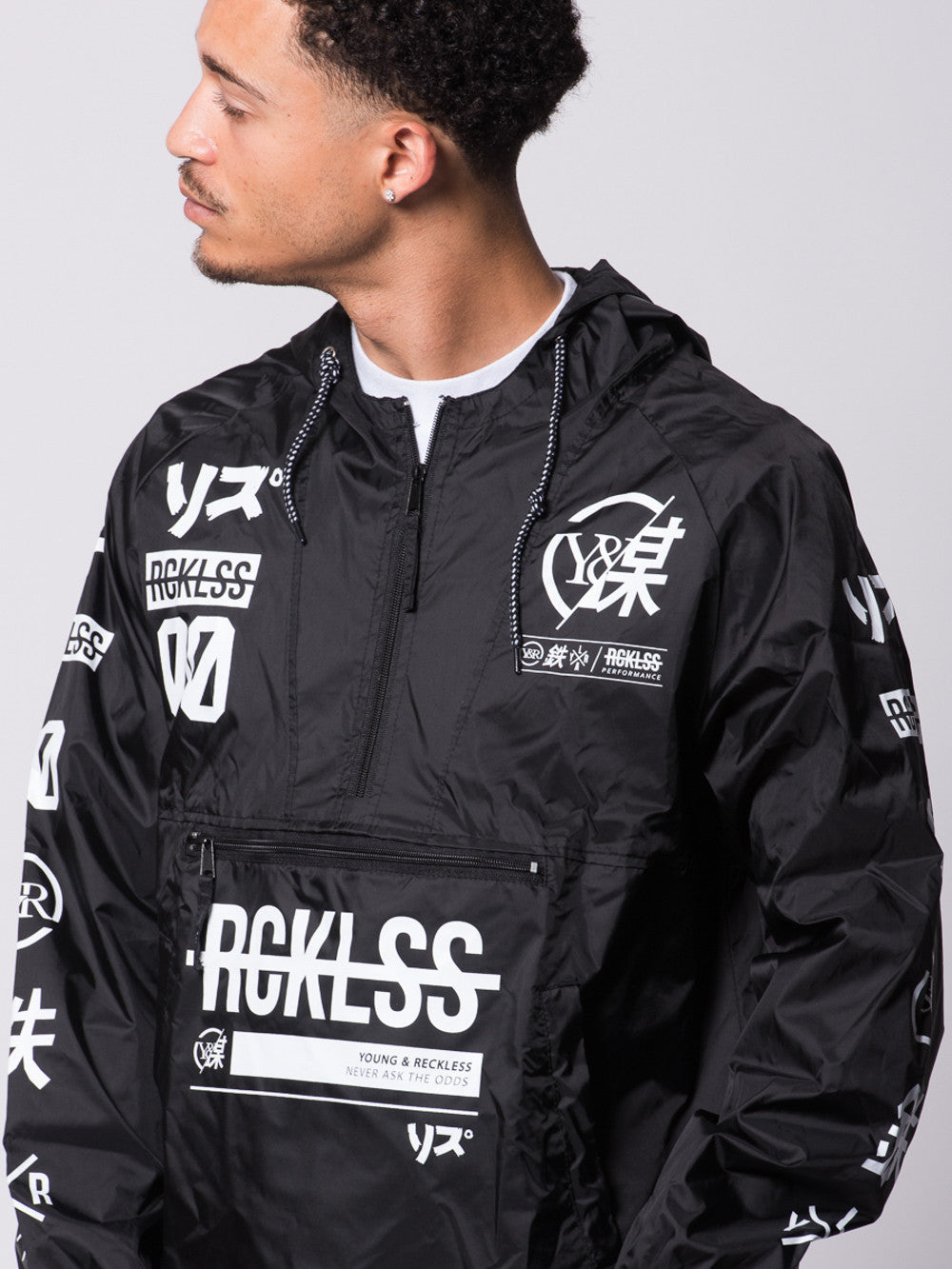 Young and Reckless Mens - Outerwear - Lightweight Jacket Strike Thru Windbreaker- Black