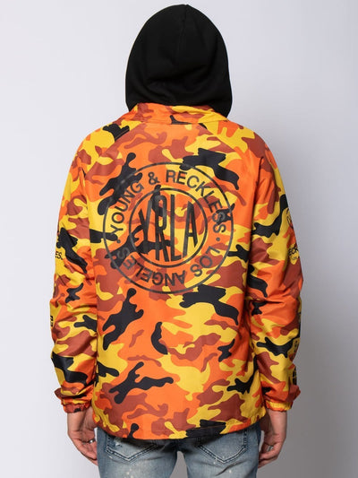 Young and Reckless Mens - Outerwear Outpost Coach Jacket - Orange Camo