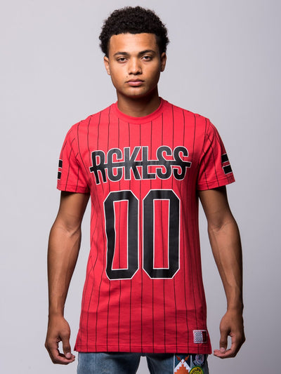 Young and Reckless Mens - Tees - Basic Tee Gameface Long Tee - Red