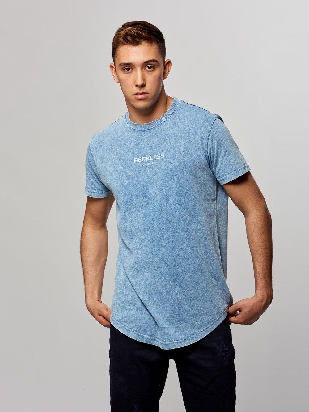 Young and Reckless Mens - Tees - Basic Tee Laramie Long Tee- Light Indigo