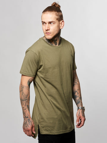 Young and Reckless Mens - Tees - Basic Tee Leandro Long Tee- Olive