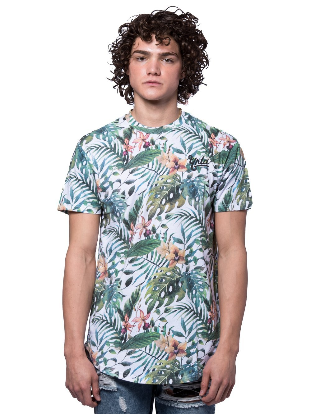 Young and Reckless Mens - Tees - Basic Tee Mini Alumni Long Scoop Tee - Tropical Green