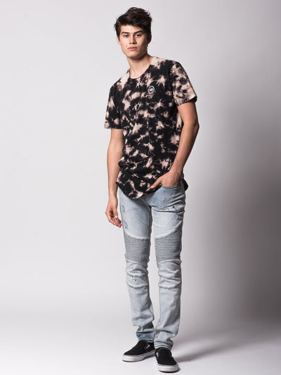Young and Reckless Mens - Tees - Basic Tee Mini Loop Scalloped Tee - Black Bleach
