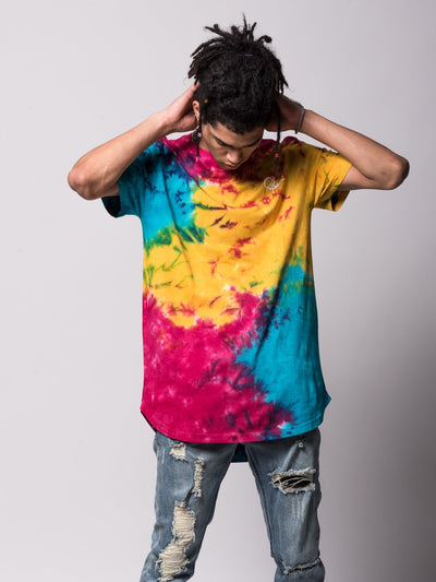 Young and Reckless Mens - Tees - Basic Tee Mini Sig Elongated Tee - Rainbow