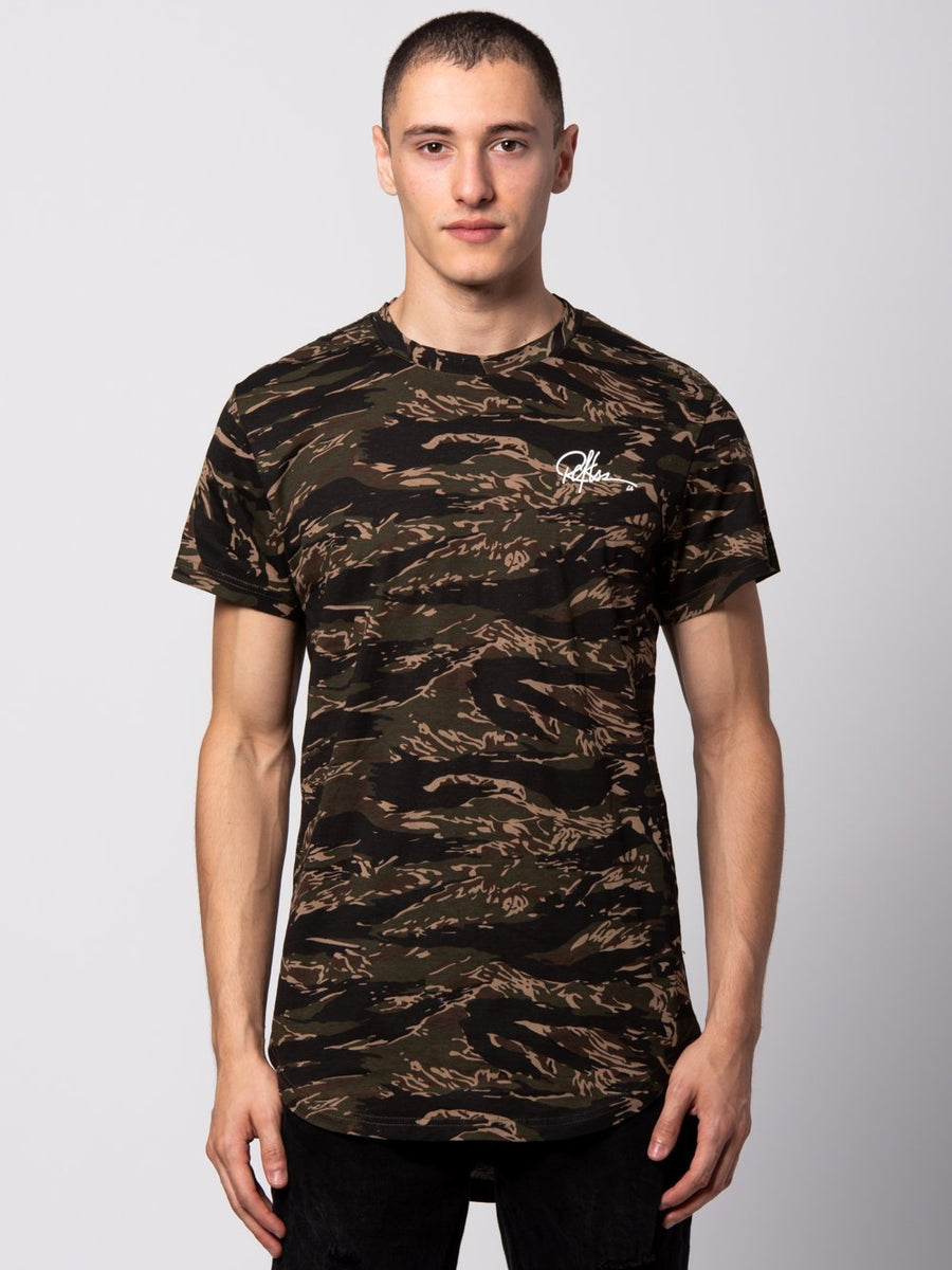Signature Elongated Tiger Tee - Green Camo