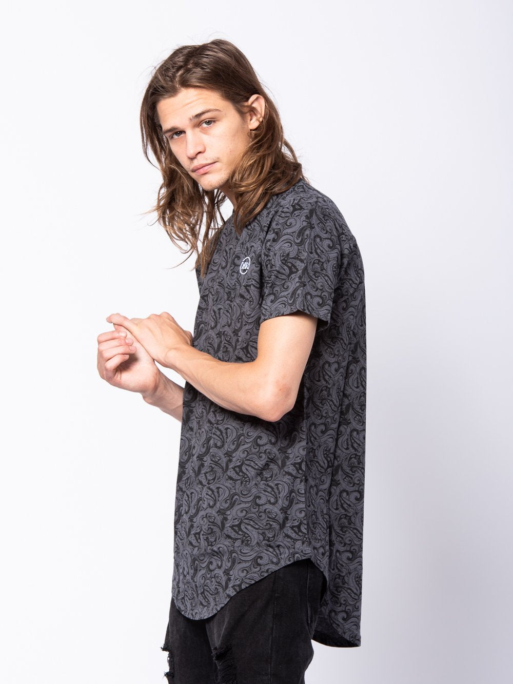Young and Reckless Mens - Tees - Basic Tee Tuscany Long Scoop Tee - Grey/Black