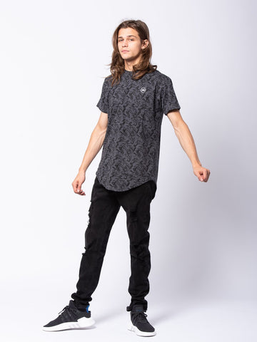 Tuscany Long Scoop Tee - Grey/Black