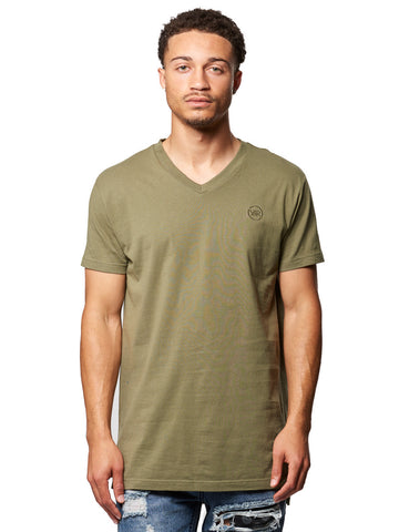 Young and Reckless Mens - Tees - Basic Tee Vincent V-Neck Tee- Olive