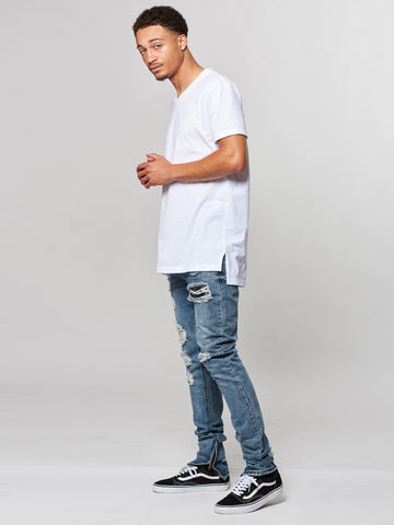 Young and Reckless Mens - Tees - Basic Tee Vincent V-Neck Tee- White