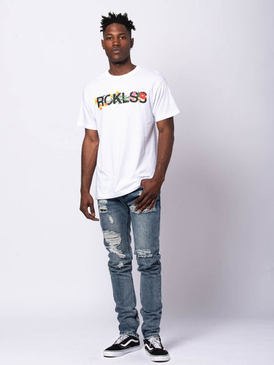 Young and Reckless Mens - Tees - Graphic Tee Botanic Tee - White