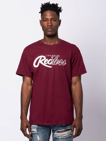 Young and Reckless Mens - Tees - Graphic Tee Both Coasts Tee - Burgundy