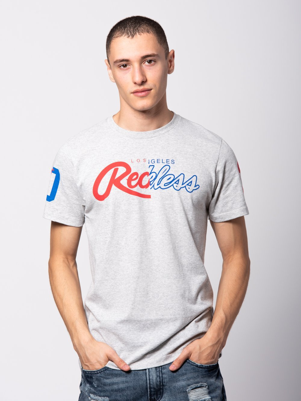Young and Reckless Mens - Tees - Graphic Tee Both Coasts Tee - Concrete Grey