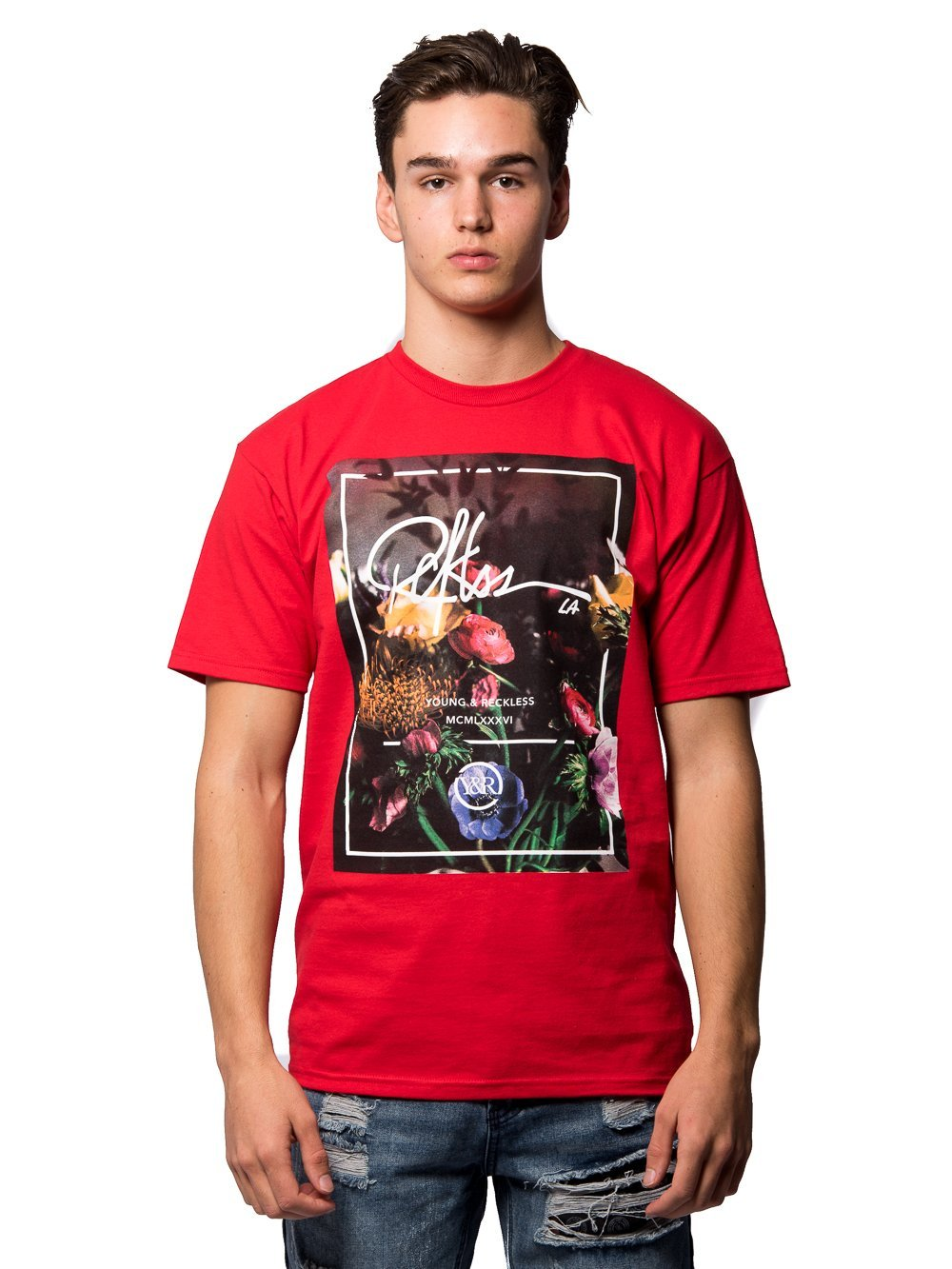 Young and Reckless Mens - Tees - Graphic Tee Bouquet Tee - Red