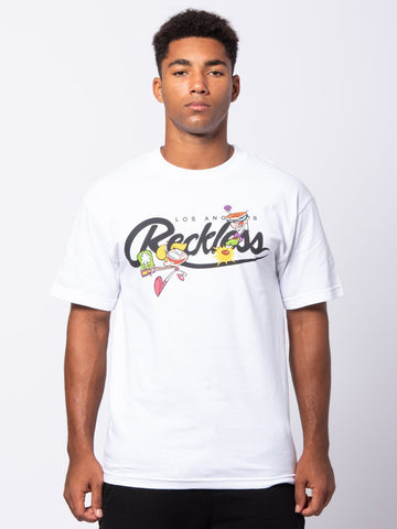 Young and Reckless Mens - Tees - Graphic Tee Boy Genius Tee - White