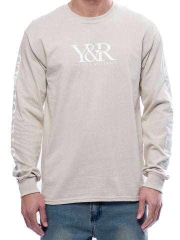 Young and Reckless Mens - Tees - Graphic Tee Bradley Long Sleeve Tee- Sand
