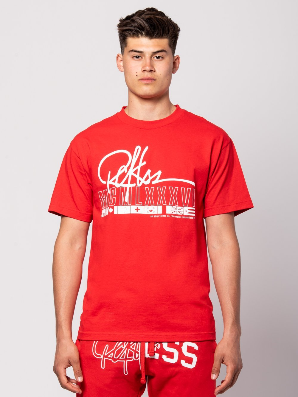 Young and Reckless Mens - Tees - Graphic Tee Championship Tee - Red