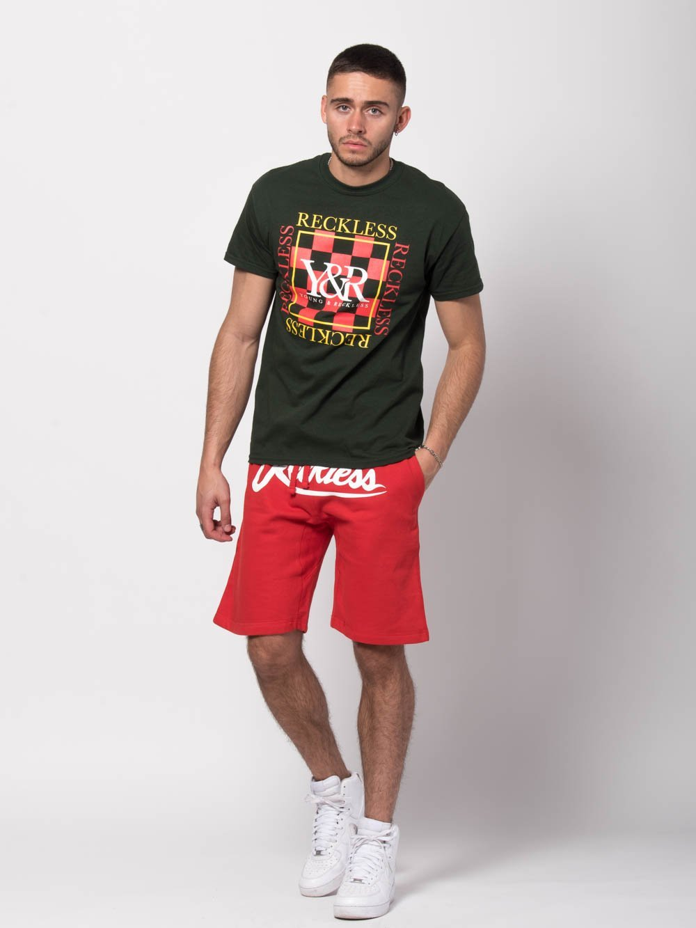 Young and Reckless Mens - Tees - Graphic Tee Checker Block Tee - Green