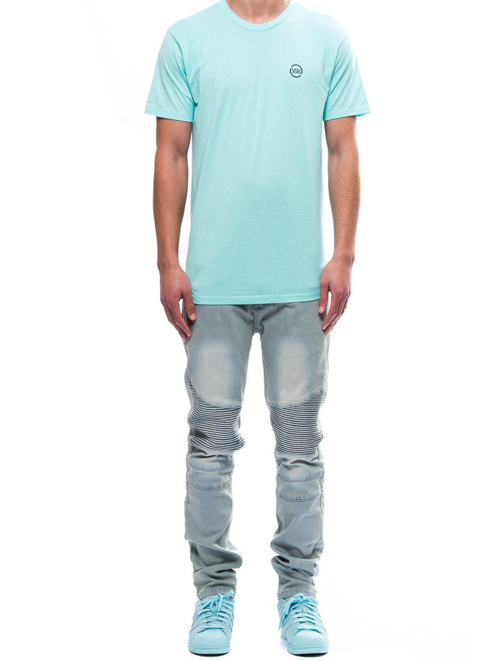 Young and Reckless Mens - Tees - Graphic Tee Circle Up Tee- Celadon