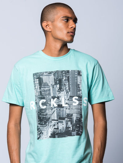 Young and Reckless Mens - Tees - Graphic Tee City Life Tee - Ice Green
