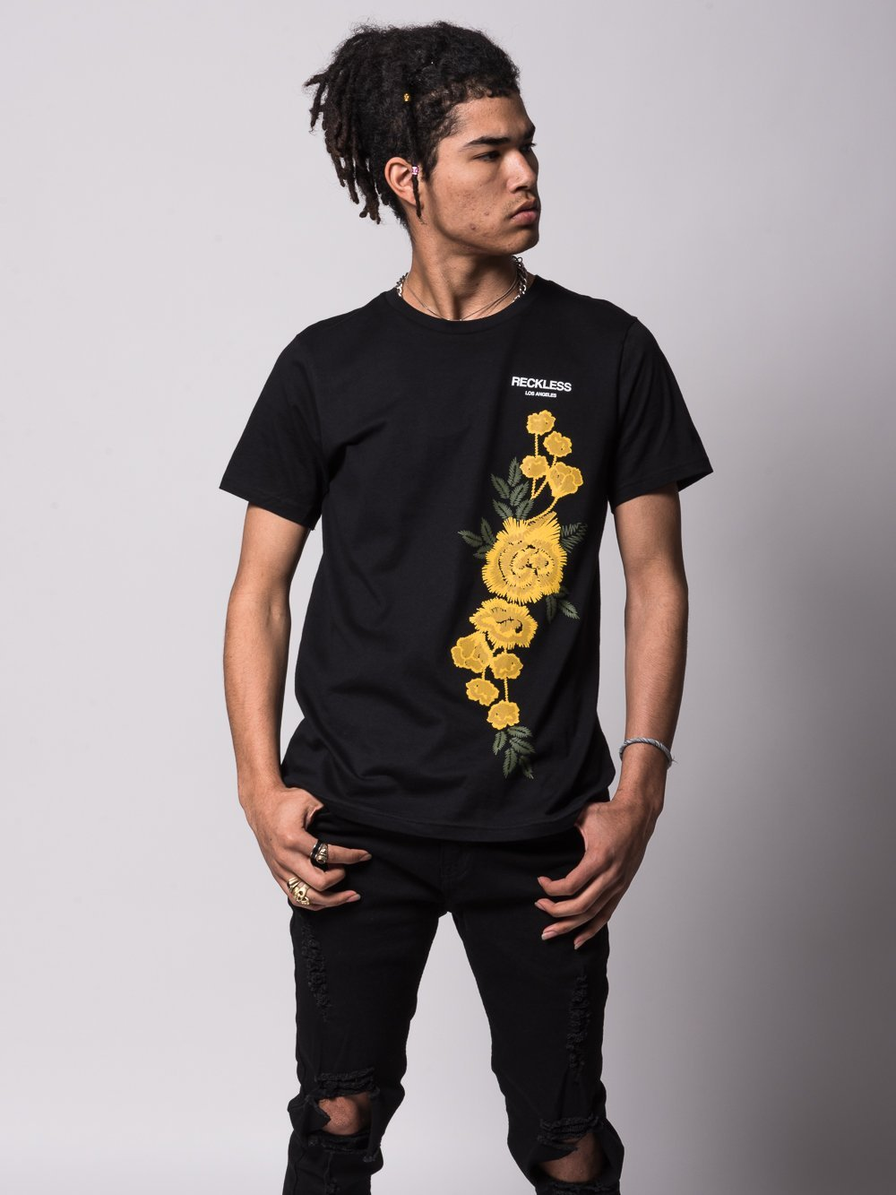 Young and Reckless Mens - Tees - Graphic Tee Classic Rosebud Tee - Black
