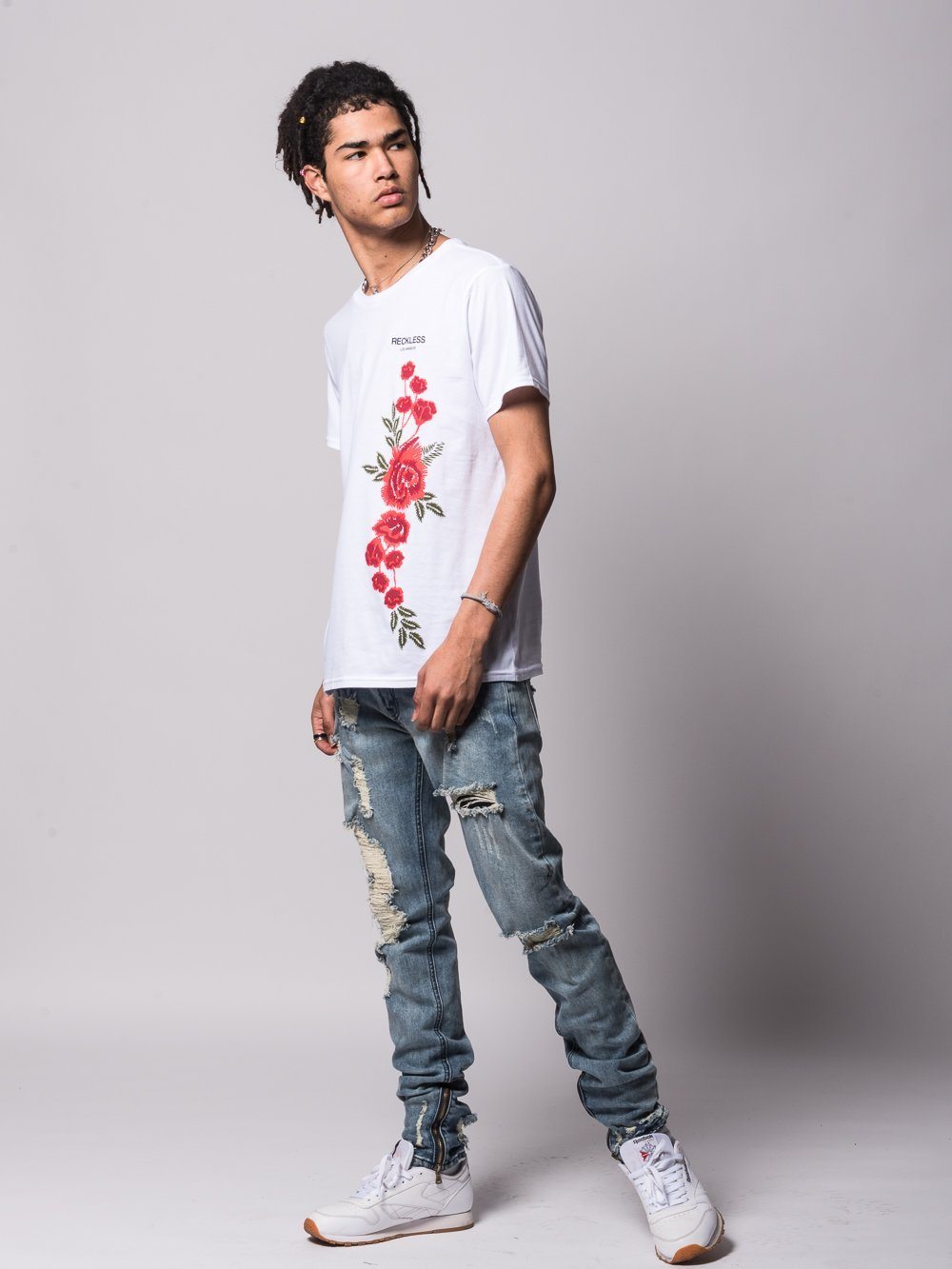Young and Reckless Mens - Tees - Graphic Tee Classic Rosebud Tee - White