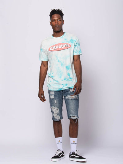 Young and Reckless Mens - Tees - Graphic Tee Clueless Tee - Blue Tie Dye