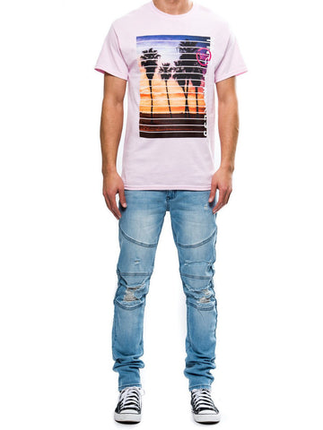 Young and Reckless Mens - Tees - Graphic Tee Coastline Tee- Pink