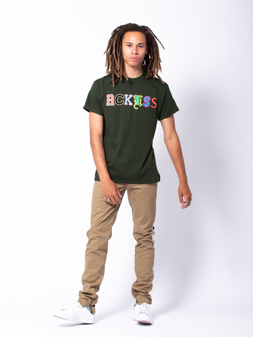 Young and Reckless Mens - Tees - Graphic Tee Composite Tee - Forest Green