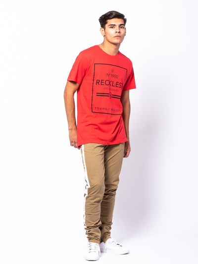 Young and Reckless Mens - Tees - Graphic Tee Contraband Tee - Red