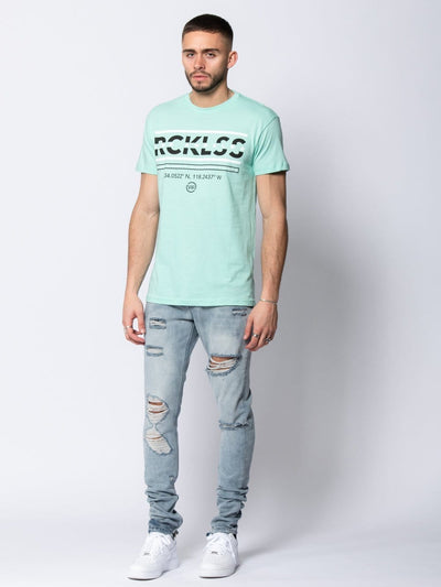 Young and Reckless Mens - Tees - Graphic Tee Coordinates Tee - Celadon S / CELADON