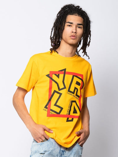 Young and Reckless Mens - Tees - Graphic Tee Cornered Tee - Gold S / GOLD
