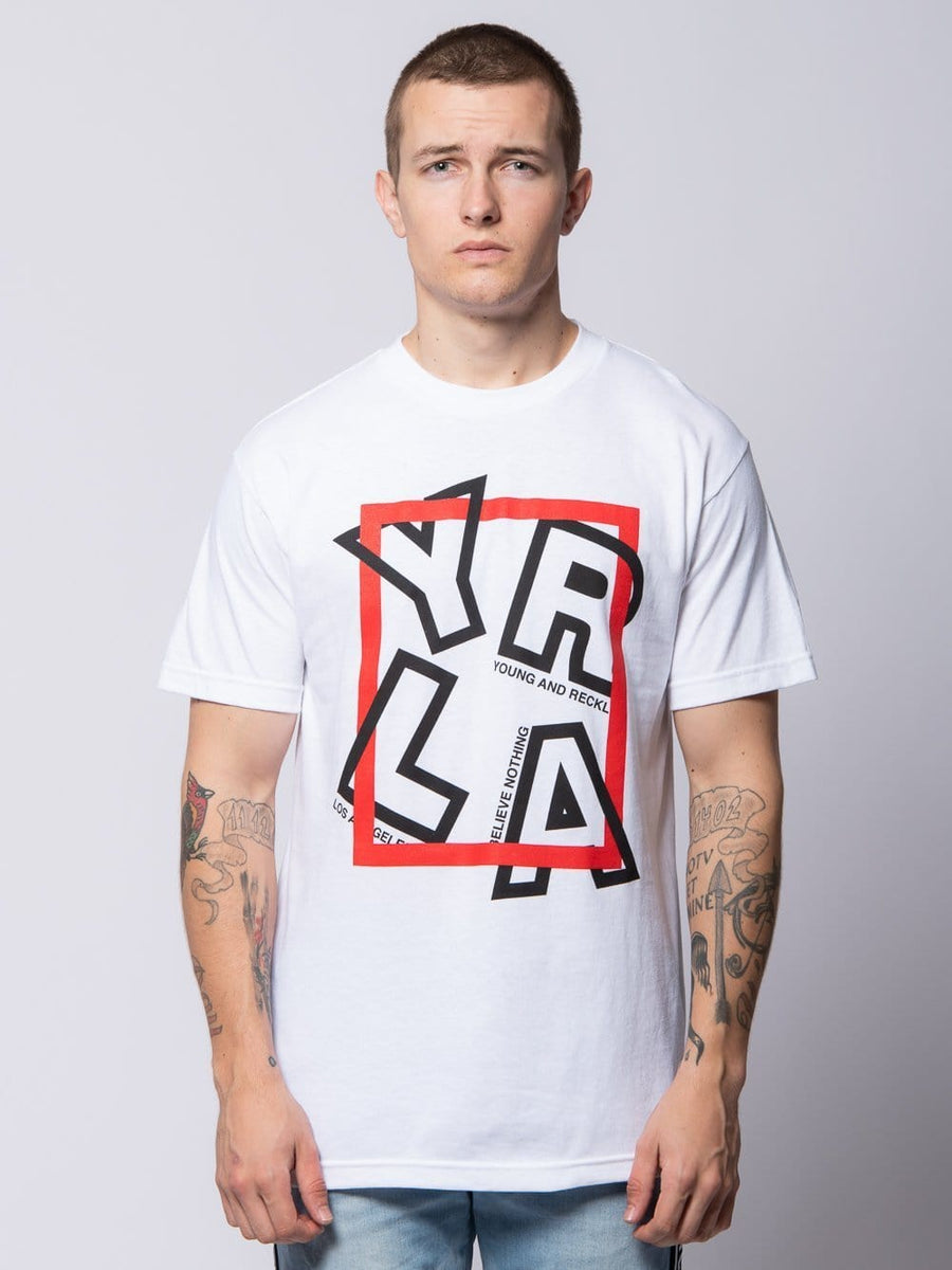 Young and Reckless Mens - Tees - Graphic Tee Cornered Tee - White S / WHITE