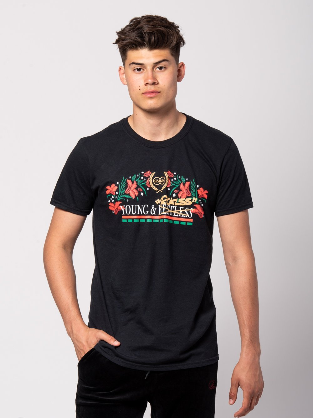 Young and Reckless Mens - Tees - Graphic Tee Counterfeit Tee - Black