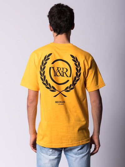 Young and Reckless Mens - Tees - Graphic Tee Crest Tee - Gold