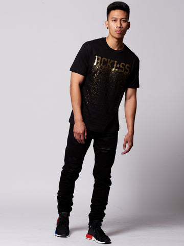 Crumbling Reckless Tee- Black/Gold