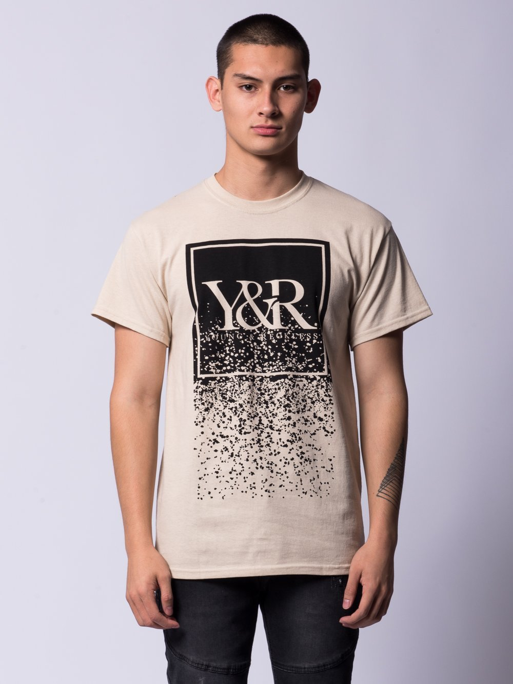 Young and Reckless Mens - Tees - Graphic Tee Crumbling Trademark Box Tee- Sand