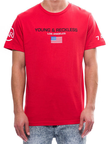 Young and Reckless Mens - Tees - Graphic Tee Delta Tee- Red