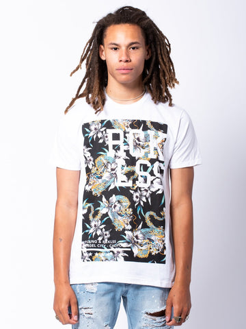 Young and Reckless Mens - Tees - Graphic Tee Drago Tee - White