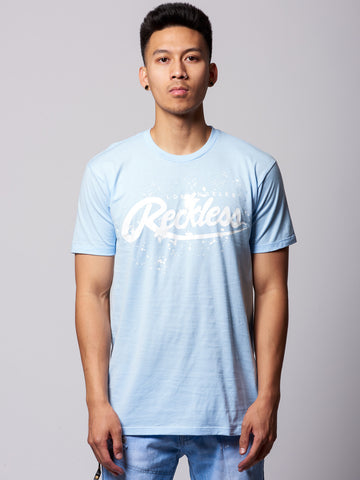 Young and Reckless Mens - Tees - Graphic Tee Drip Tee- Baby Blue