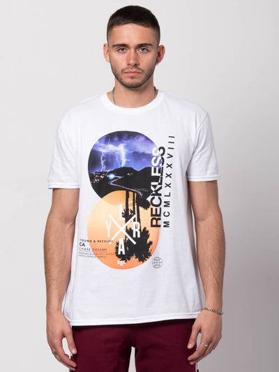 Young and Reckless Mens - Tees - Graphic Tee Dual Vistas Tee - White