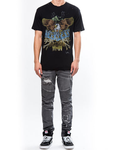 Young and Reckless Mens - Tees - Graphic Tee Eagle Rock Tee - Black