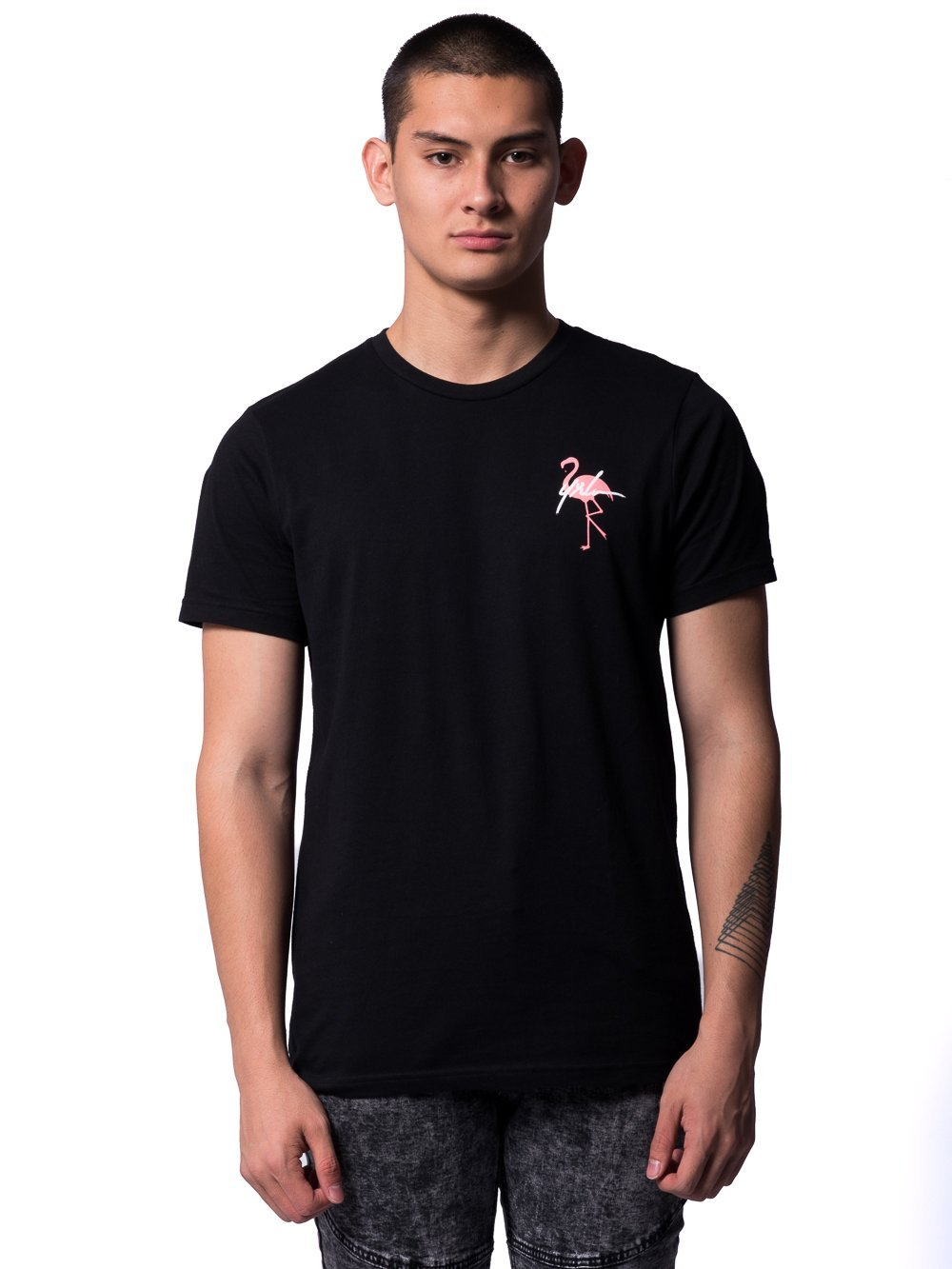 Young and Reckless Mens - Tees - Graphic Tee Flamingo Tee- Black
