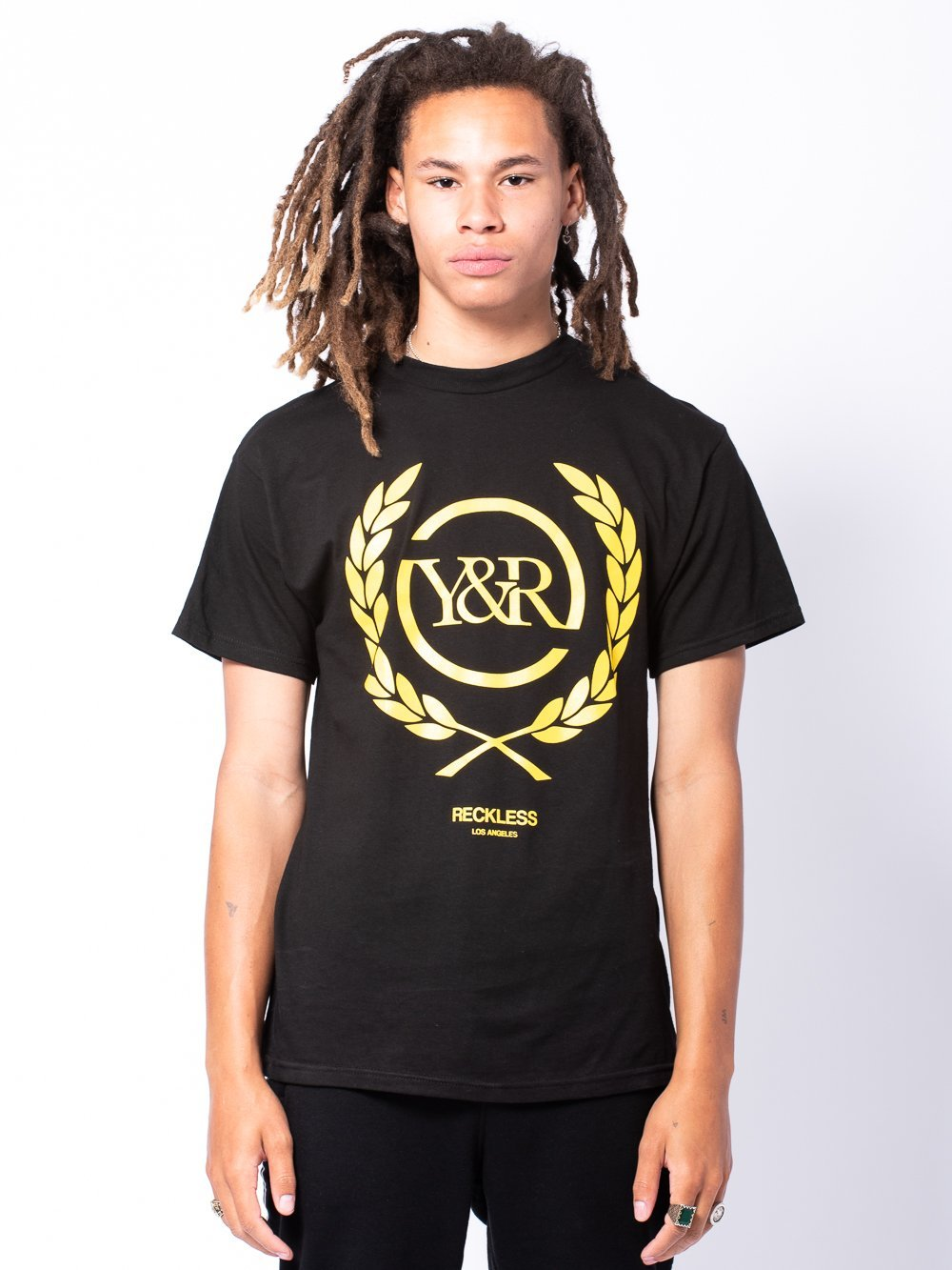Young and Reckless Mens - Tees - Graphic Tee Full Crest Tee - Black