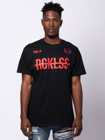 Young and Reckless Mens - Tees - Graphic Tee Full Vert Tee - Black/Red