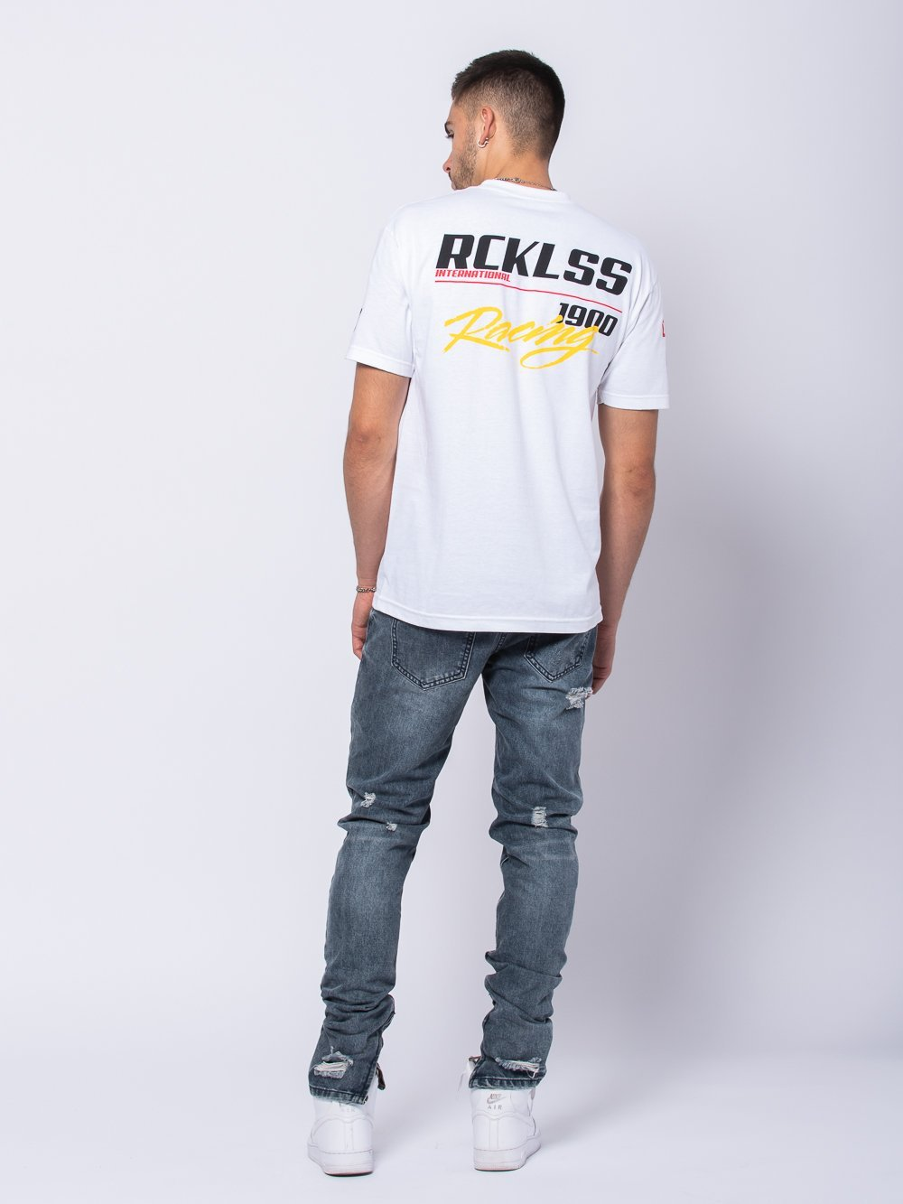 Young and Reckless Mens - Tees - Graphic Tee Grand Prix Tee - White