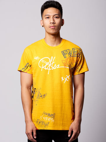 Young and Reckless Mens - Tees - Graphic Tee Griffon Tee- Yellow