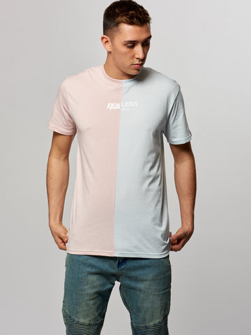 Young and Reckless Mens - Tees - Graphic Tee Half Hearted Tee- Pink/Blue